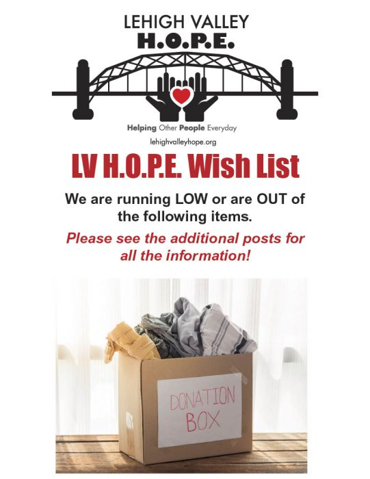 Lehigh Valley HOPE Wish List
